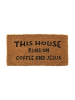 """CREATIVE CO-OP """"THIS HOUSE RUNS ON JESUS AND COFFEE"""" DOOR MAT"""
