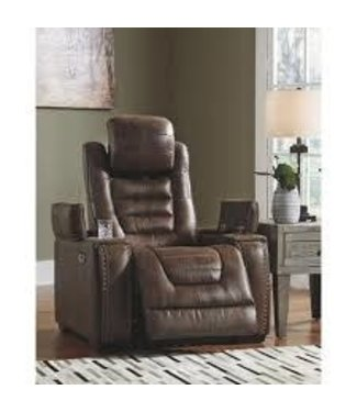 ASHLEY POWER RECLINER WITH STORAGE GAME ZONE IN BARK