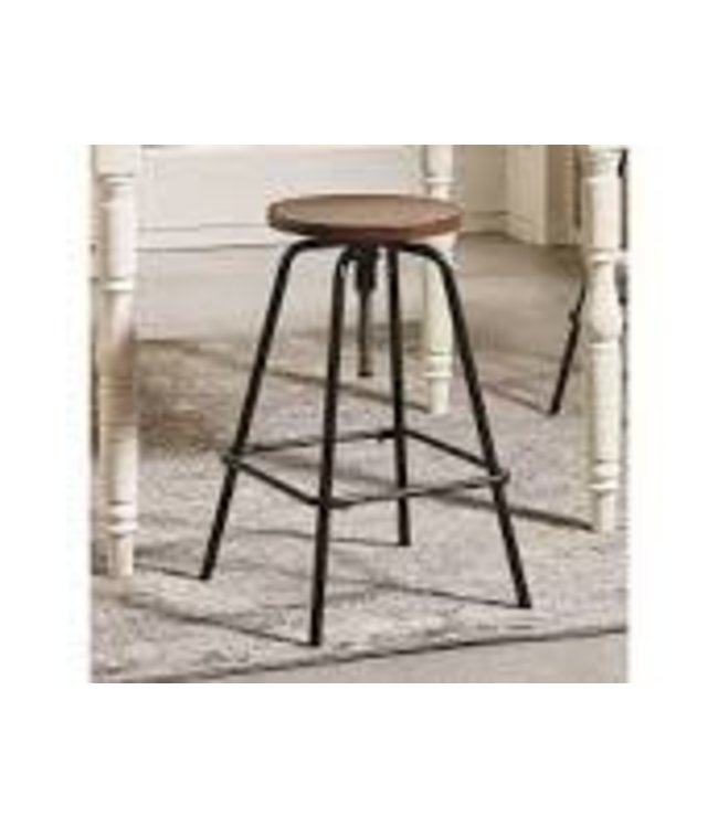 MAGNOLIA HOMES FACTORY STOOL WITH BLACKENED BRONZE LEGS