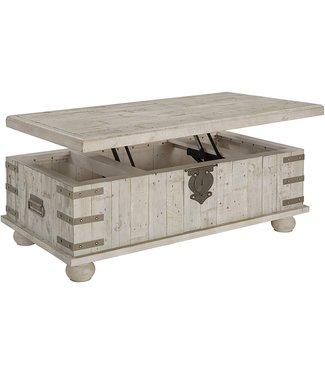ASHLEY CARYNHURST LIFT TOP COFFEE TABLE IN  WHITEWASH GREY