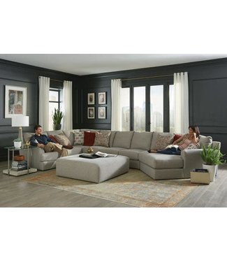 JACKSON MFG LAGUNA 5 PIECE SECTIONAL IN ALMOND WITH BLUE PILLOWS
