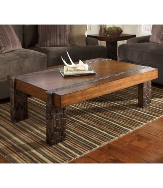 ASHLEY T875-1 COCKTAIL TABLE RECT BROCKLAND RUSTIC