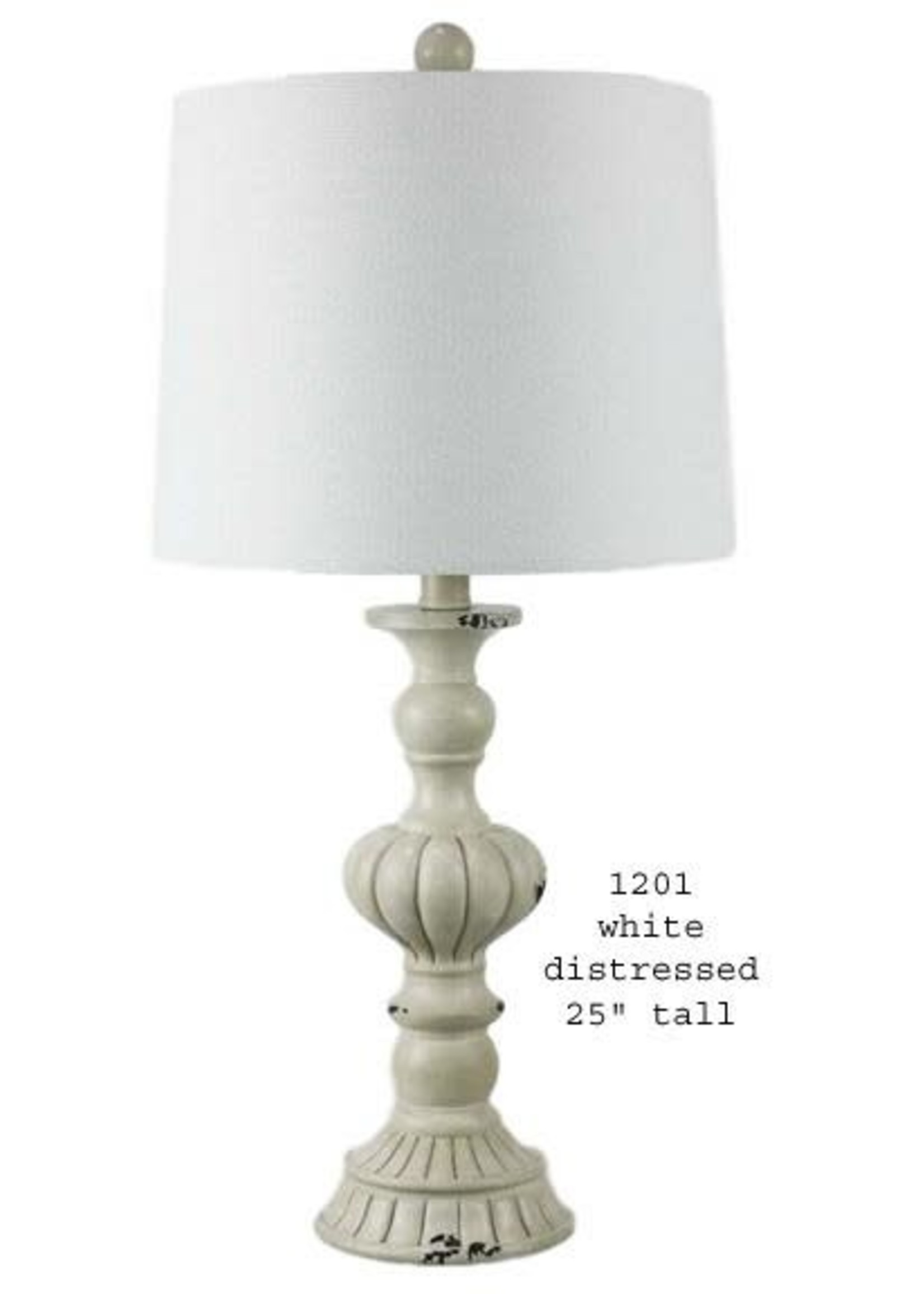 H&H LAMP TABLE LAMP IN WHITE DISTRESSED