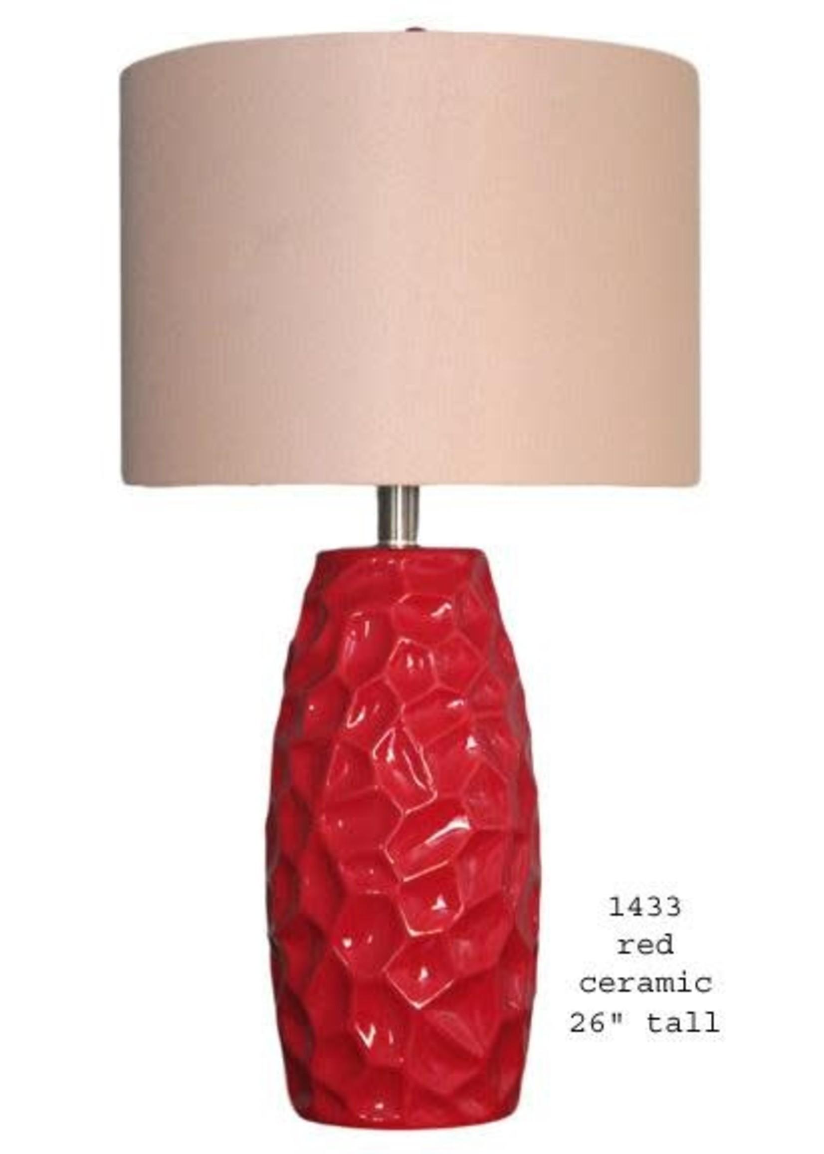 H&H LAMP CERAMIC TABLE LAMP IN RED