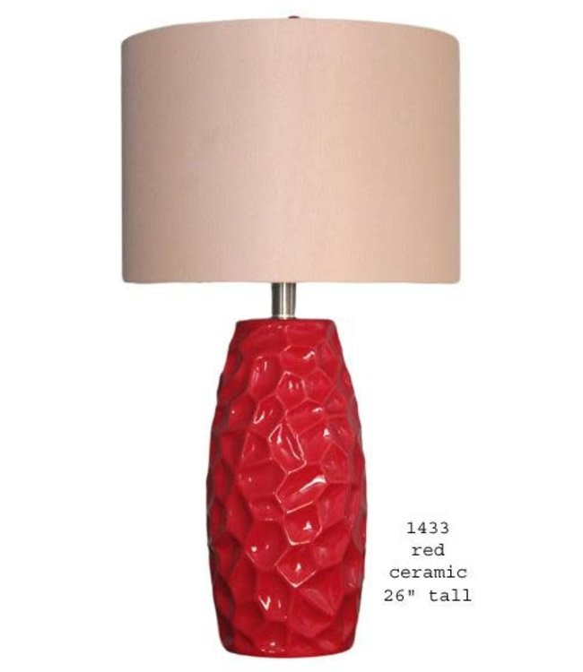 H&H LAMP CERAMIC TABLE LAMP IN RED