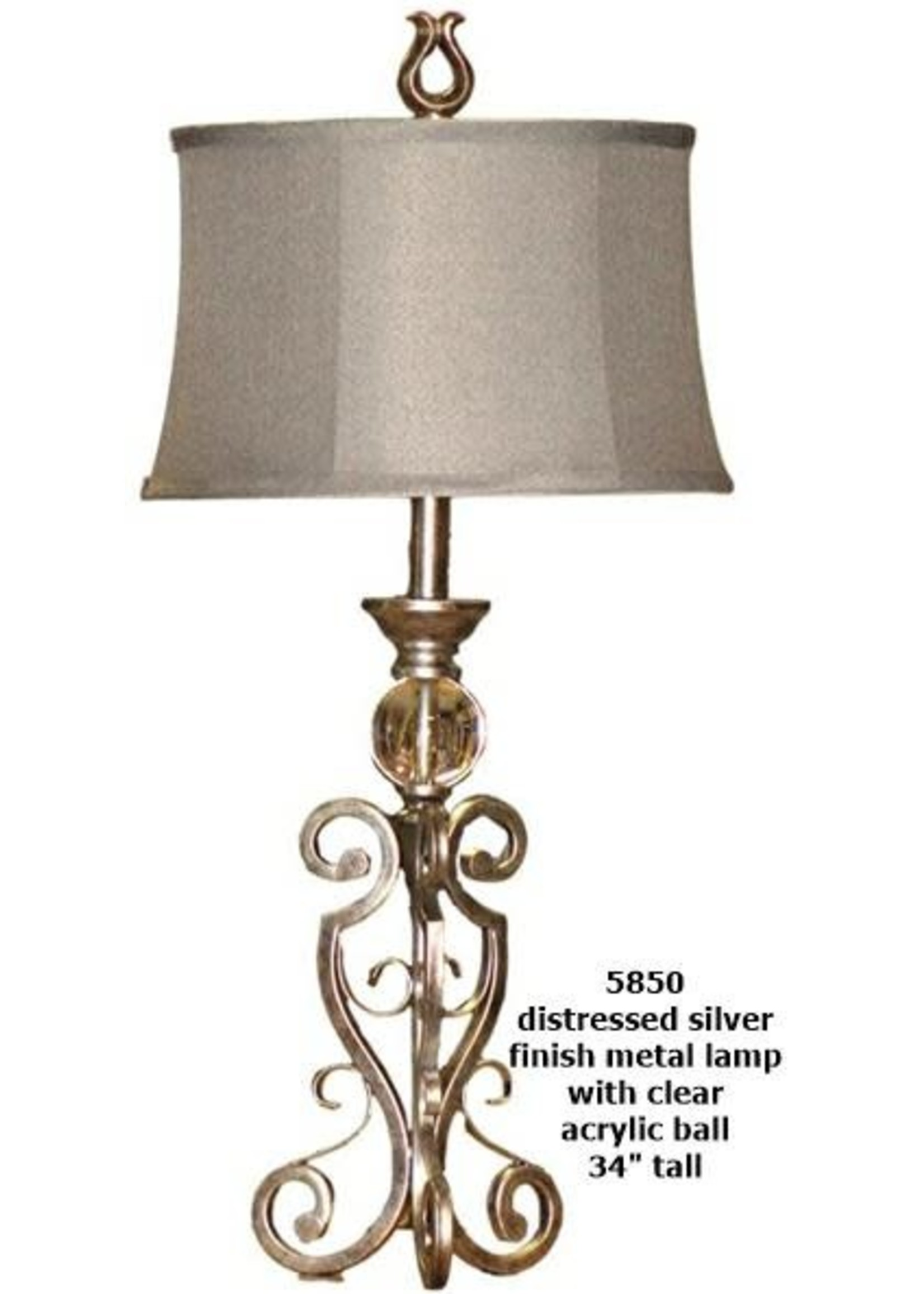 H&H LAMP TABLE LAMP WITH CLEAR BALL IN DISTRESSED SILVER METAL