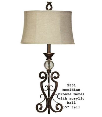 H&H LAMP MERIDIAN TABLE LAMP WITH ACRYLIC BALL IN BRONZE METAL