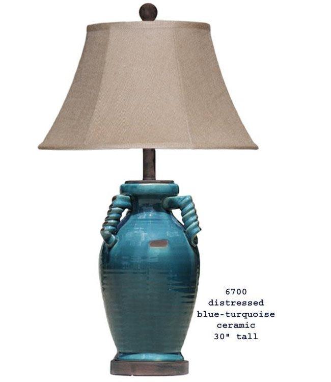 H&H LAMP CERAMIC TABLE LAMP IN DISTRESSED BLUE