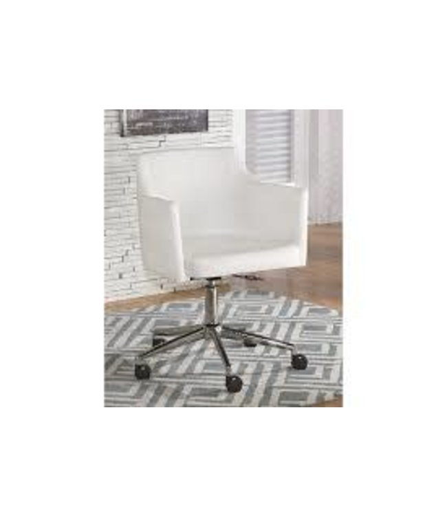 ASHLEY H410-01A OFFICE CHAIR SWIVEL FAUX LEATHER WHITE