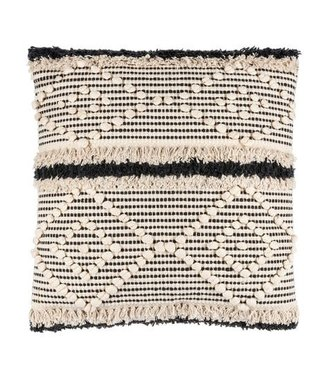 GANZ THROW PILLOW BLACK AND NEUTRAL WITH BUBBLE FRINGE