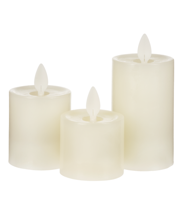 GANZ 3 PIECE MINI LED WAX PILLAR CANDLE SET