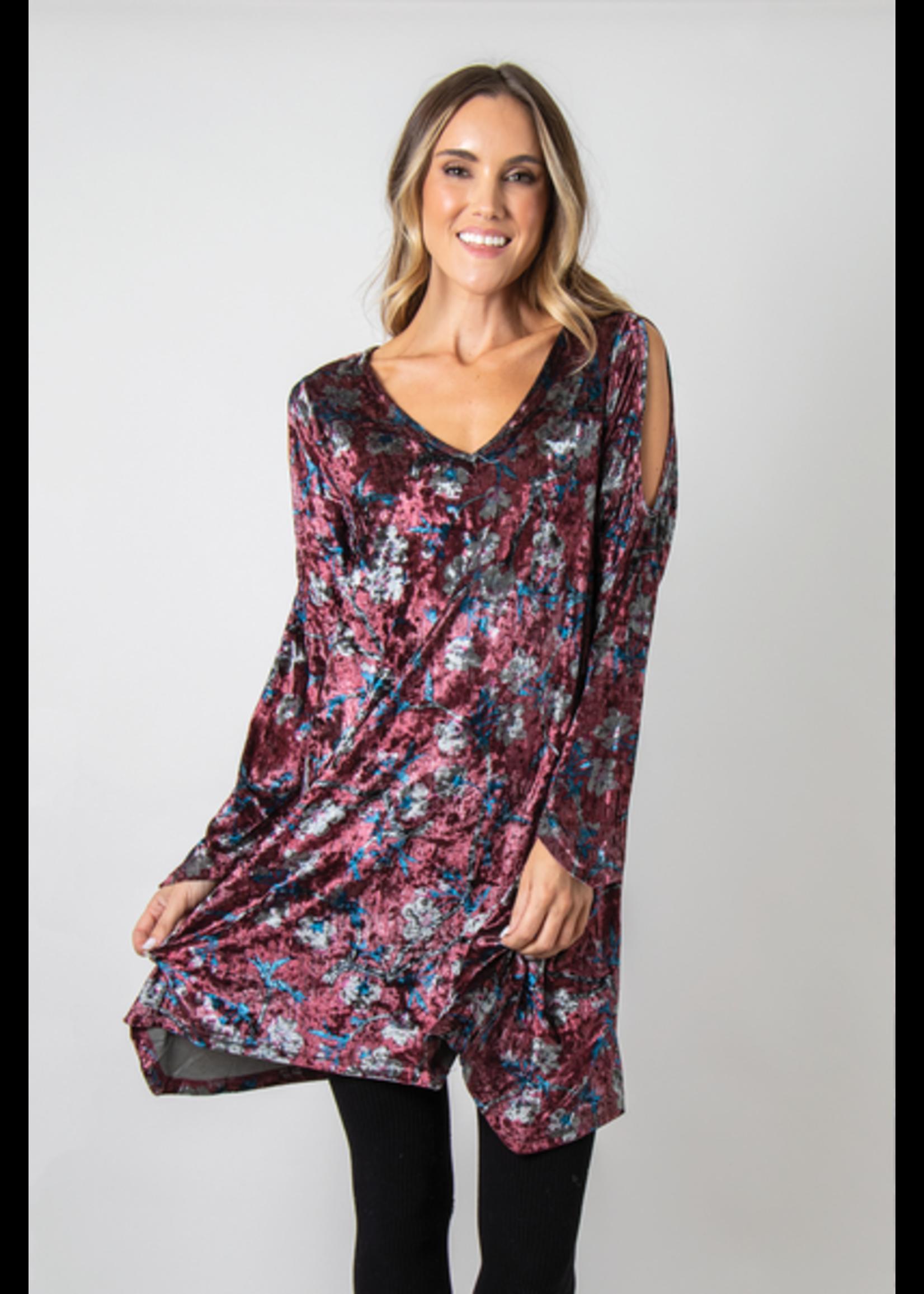 SIMPLY NOELLE AWESOME BLOSSOM ASSORTED VELVET DRESS L/XL