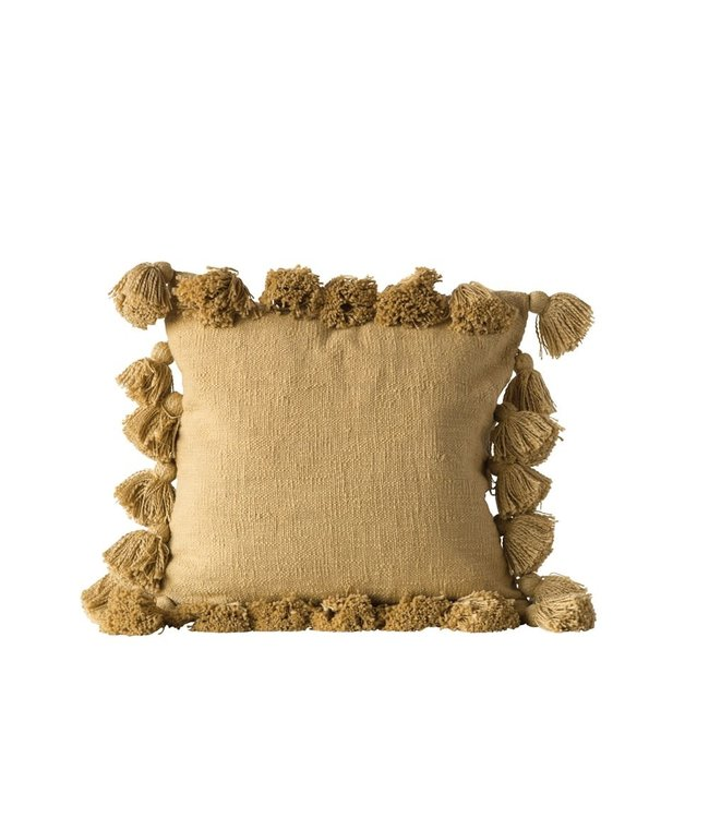CREATIVE CO-OP WOVEN SLUB PILLOW WITH TASSLES IN MUSTARD