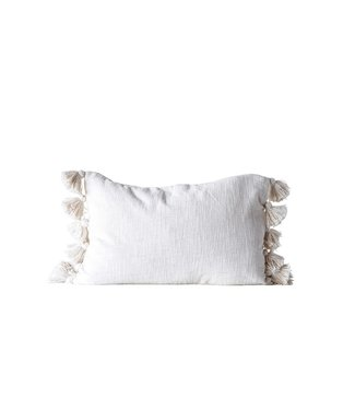 CREATIVE CO-OP WOVEN COTTON PILLOW WITH TASSLES IN CREAM