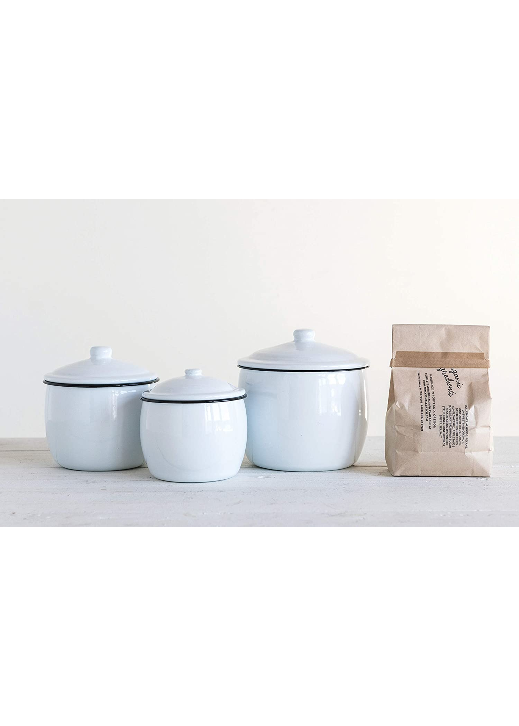 CREATIVE CO-OP WHITE ENAMEL 3 PIECE CANISTER SET