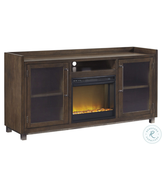 """ASHLEY STARMORE 70"""" TV STAND WITH FIREPLACE IN BROWN"""