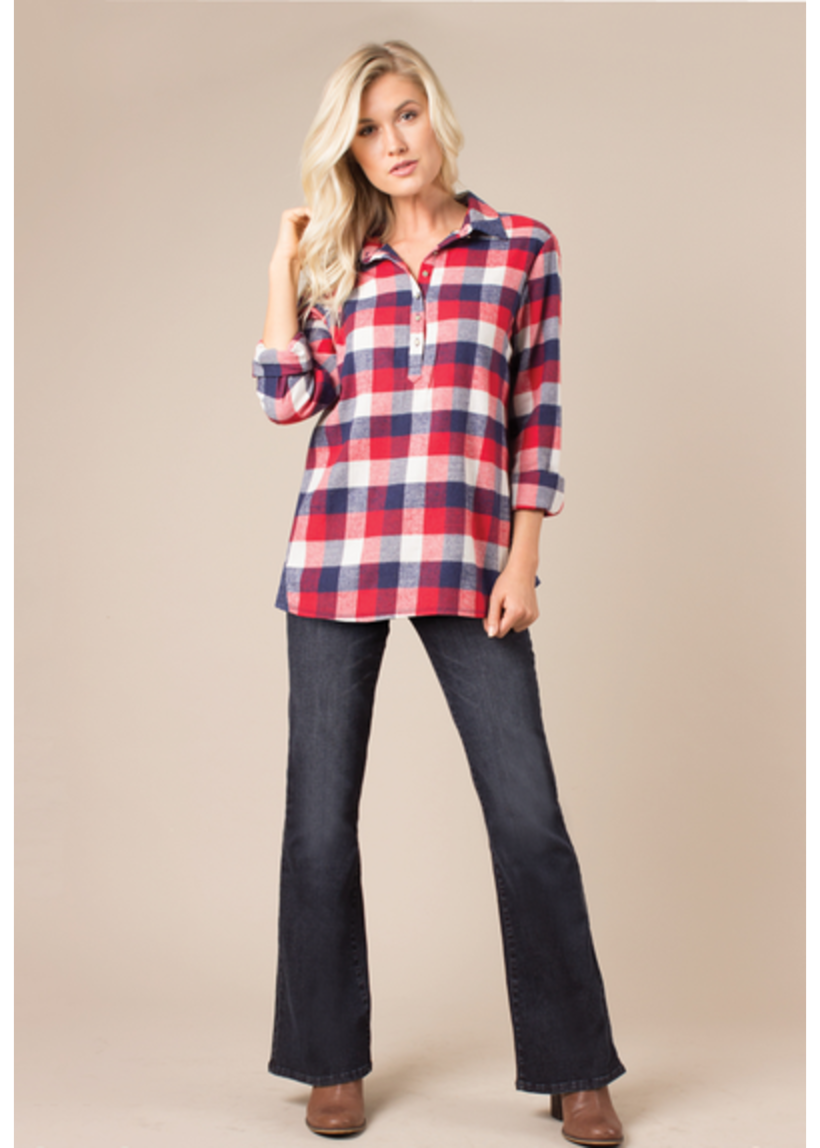SIMPLY NOELLE RIVER LODGE PULLOVER TOP PLAID