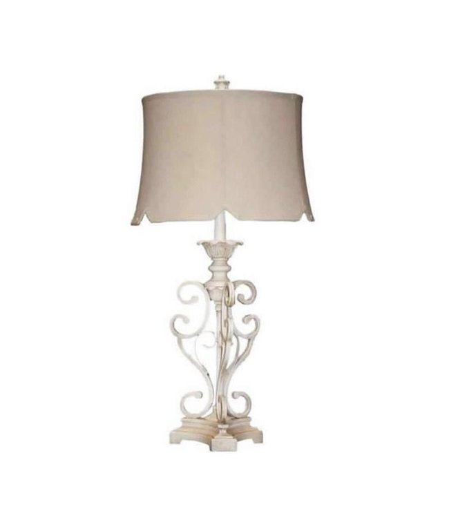H&H LAMP TABLE LAMP OPEN METAL IN WHITE