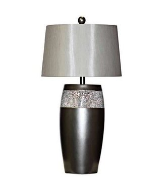 H&H LAMP PEWTER LAMP METALLIC WITH MIRROR CHIPS IN SILVER