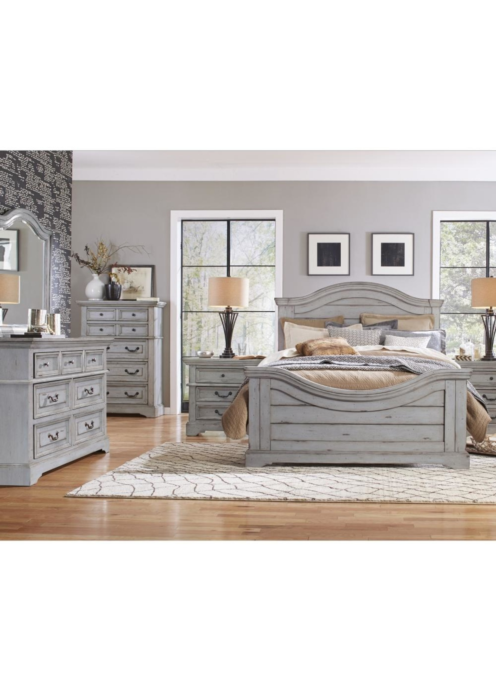 AMERICAN WDCRFT STONEBROOK FULL PANEL BED IN GREY