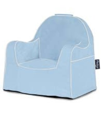 P'KOLINO LITTLE READER CHAIR IN LIGHT BLUE WITH WHITE PIPING