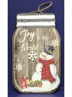 GANZ WALL ART LIGHT UP SNOWMAN MASON JAR