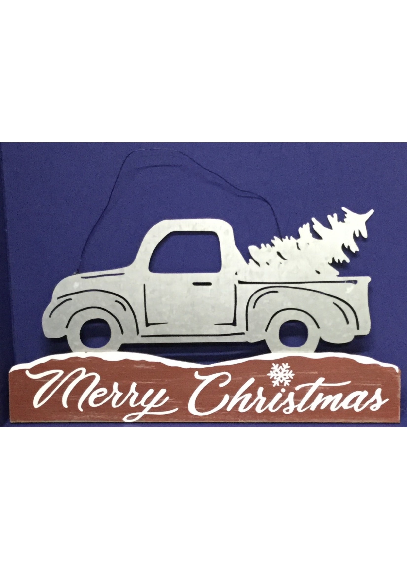 GANZ WALL ART MERRY CHRISTMAS TRUCK/WOOD