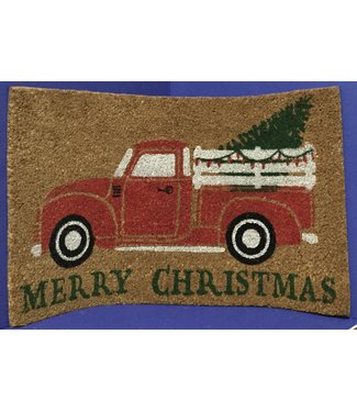 GANZ DOOR MAT MERRY CHRISTMAS TRUCK