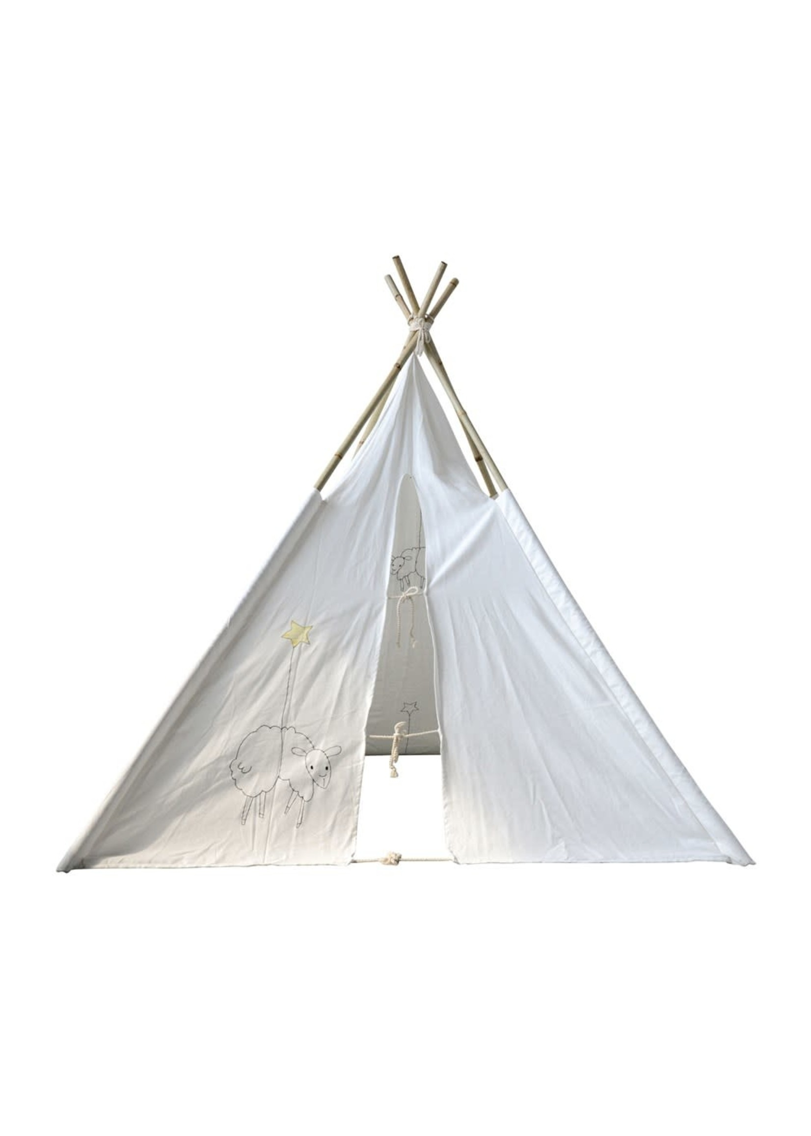CREATIVE CO-OP CANVAS TEEPEE W/ BAMBOO POLES