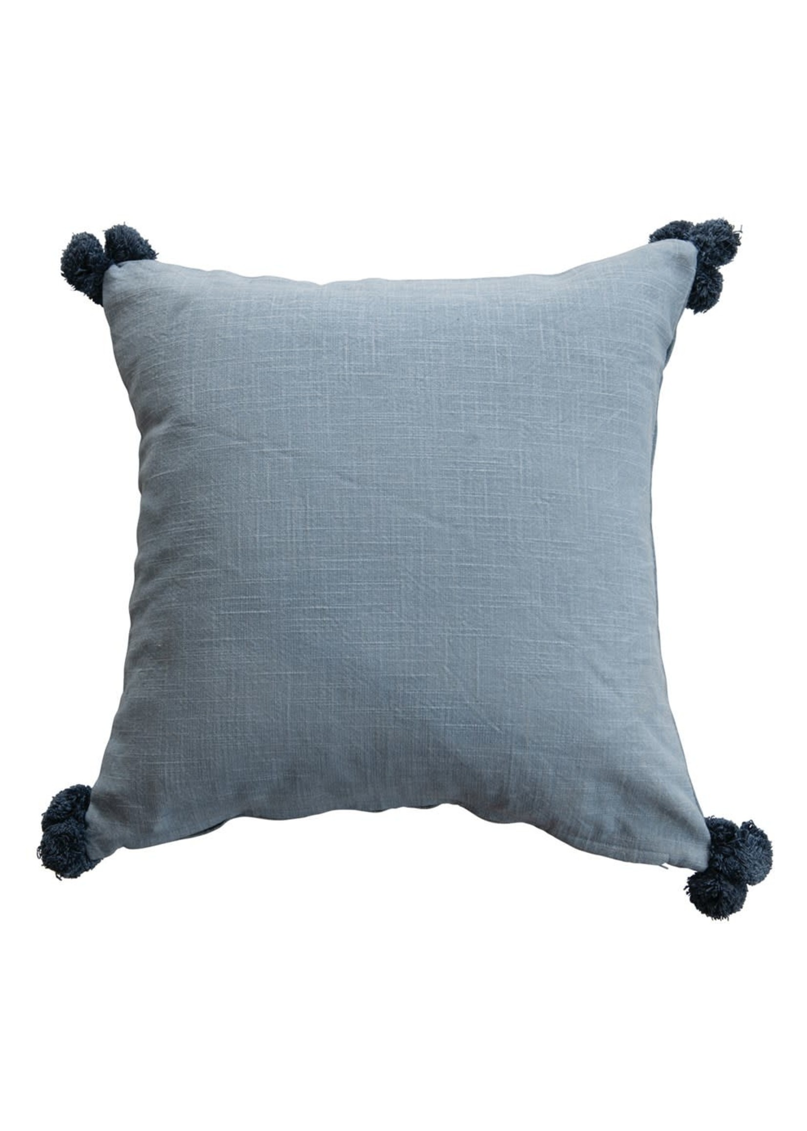 CREATIVE CO-OP BLUE THROW PILLOW WITH CHICKEN & POM POMS