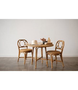 CREATIVE CO-OP HAND-WOVEN RATTAN BISTRO TABLE & 2 CHAIRS