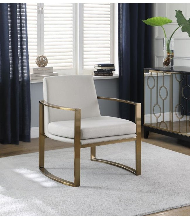 COASTER ACCENT CHAIR IN GOLD AND CREAM