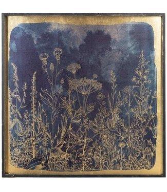 GANZ BLUE AND GOLD BOTANICAL WALL DECOR