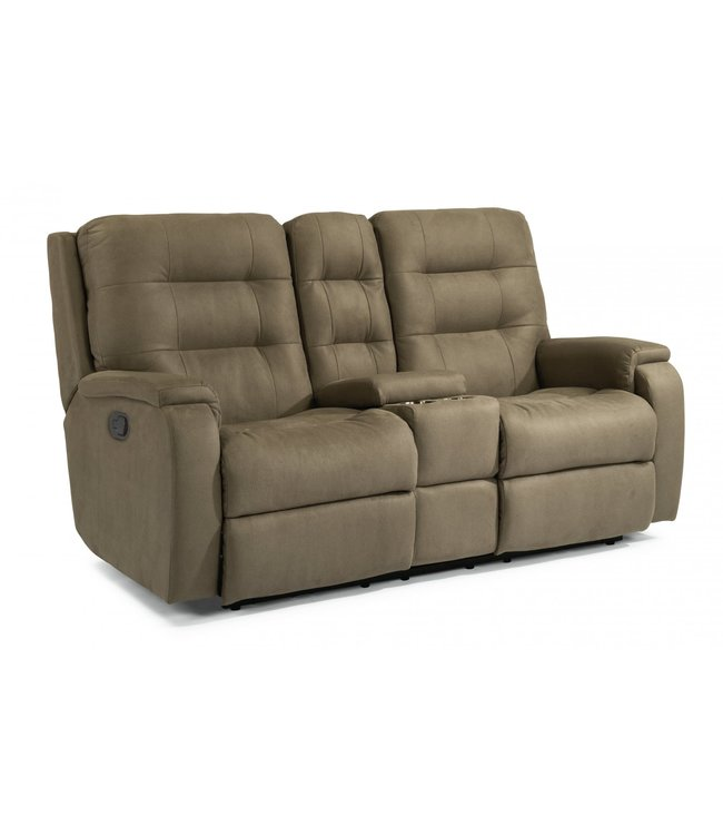 FLEXSTEEL ARLO RECLINING LOVESEAT WITH CONSOLE IN FOSSIL