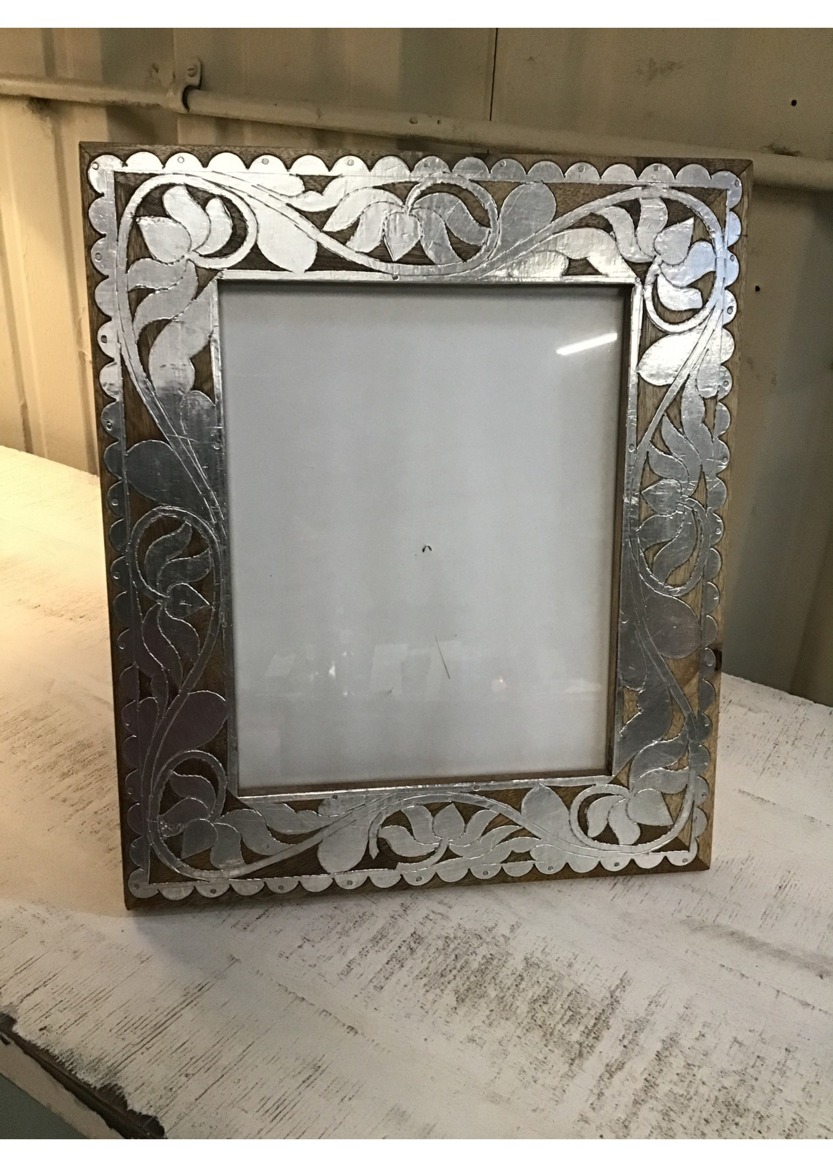 """MIDWEST CBK 134116 SILVER 8""""X10"""" FRAME WOOD & SILVER FLORAL"""