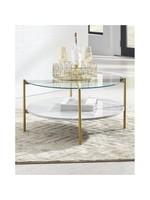 ASHLEY T192-8 ROUND COCKTAIL TABLE WYNORA WHITE/GLASS