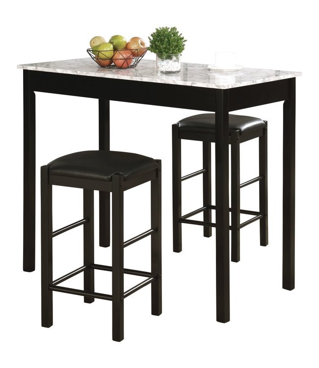 LINON 02859BLKWHT01U TAVERN SET BLACK WITH FAUX MARBLE TOP