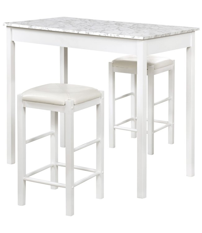 LINON 02859WHT01U TAVERN SET WHITE WITH FAUX MARBLE TOP