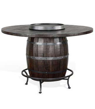 SUNNY DESIGNS HOMESTEAD ROUND PUB TABLE W/ WINE BARREL TOBACCO LEAF FINISH
