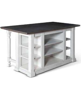 SUNNY DESIGNS CARRIAGE KITCHEN ISLAND W/ DROP LEAF EUROPEAN FINISH