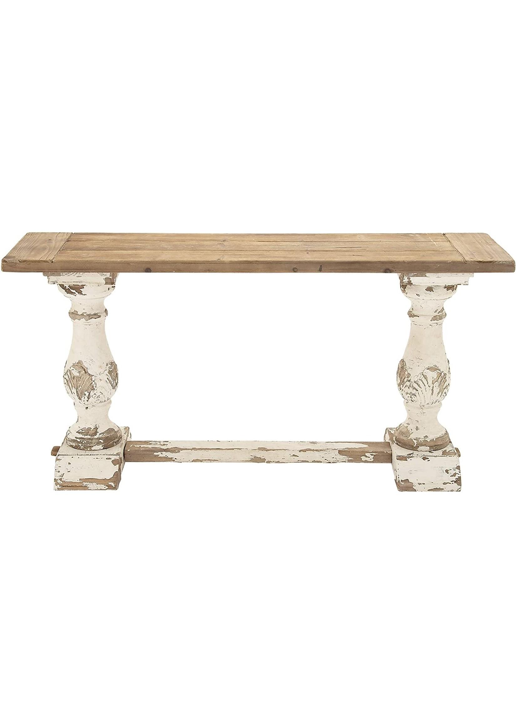 UMA ENT. INC. TWO TONE PEDESTAL CONSOLE TABLE