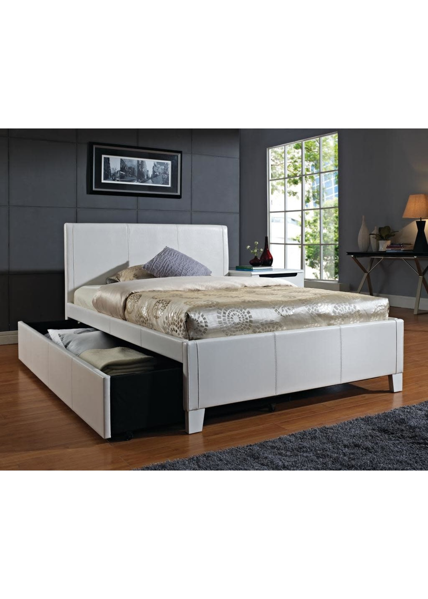 STANDARD FANTASIA TWIN UPHOLSTERED BED WITH TRUNDLE IVORY VINYL