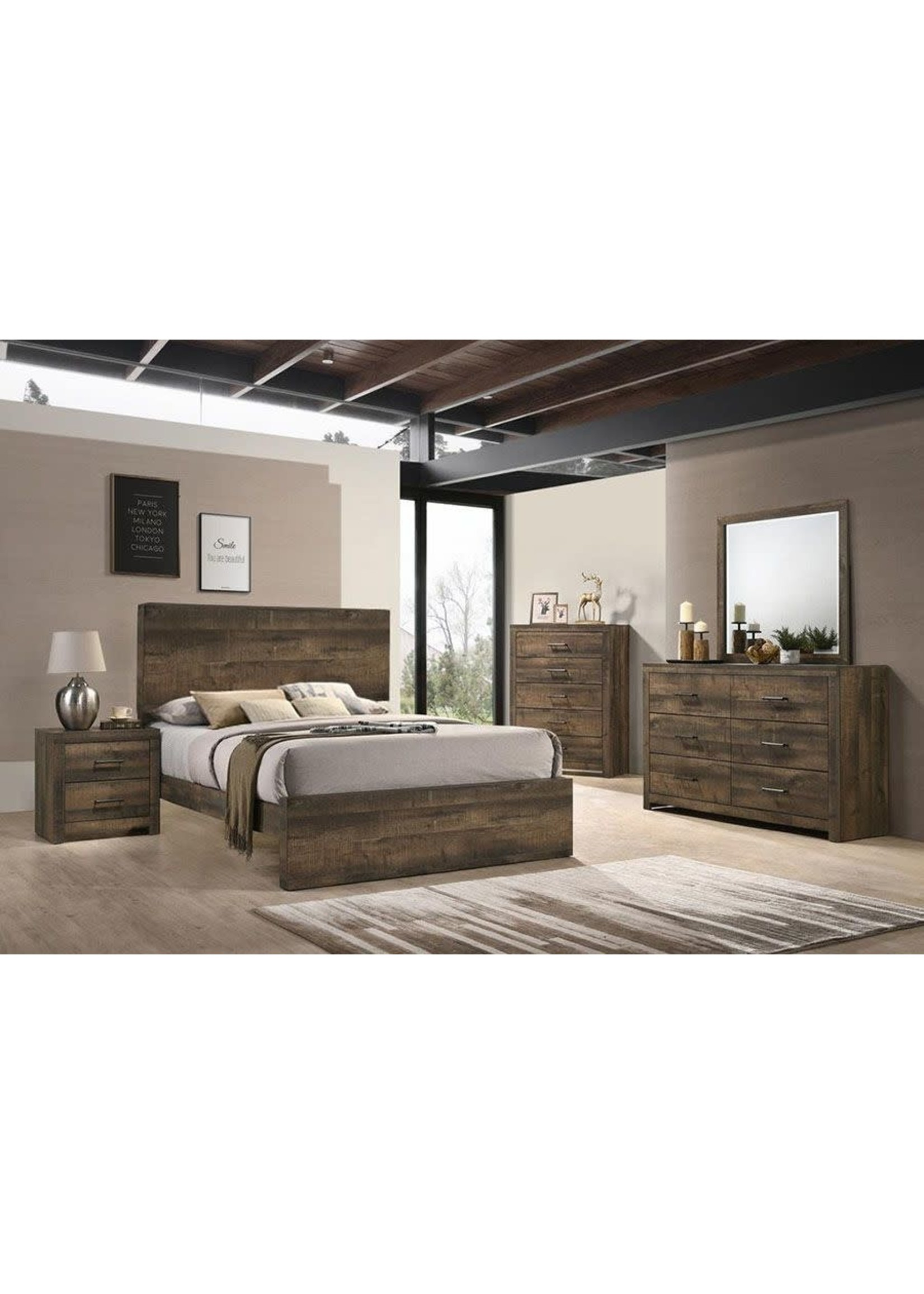 ELEMENTS BY500KB 6/6 PANEL BED BAILEY DRIFTWOOD