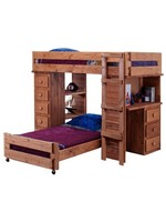 PINE CRAFTER TWIN/FULL LOFT BUNK BED WITH DESK END MAHOGANY