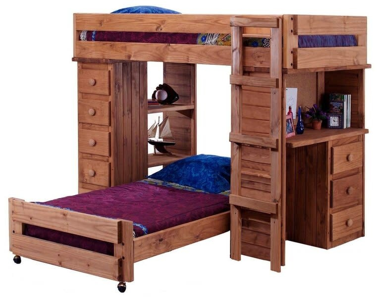 Twin Full Bunk Bed With Desk, Full Bunk Beds With Desk