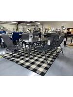 KINGSTON CASUAL PORTSIDE  7 PC MIXED DINING SET DARK GRAY POWDER COAT