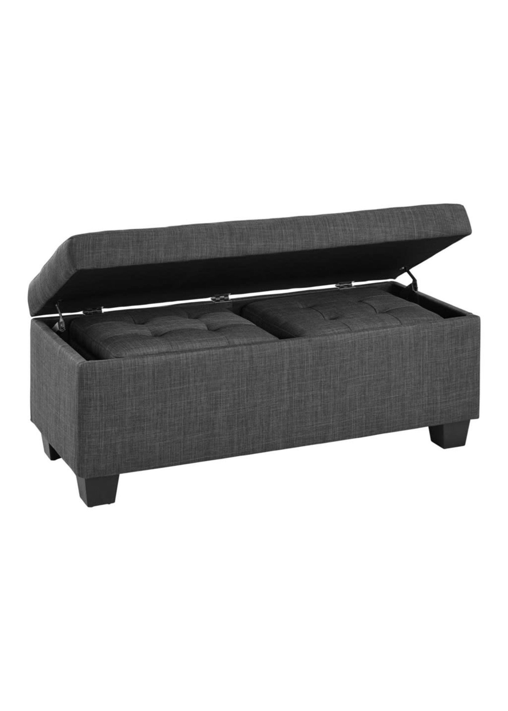 ELEMENTS ETHAN 3PC STORAGE BENCH & OTTOMAN SET HEIRLOOM CHARCOAL