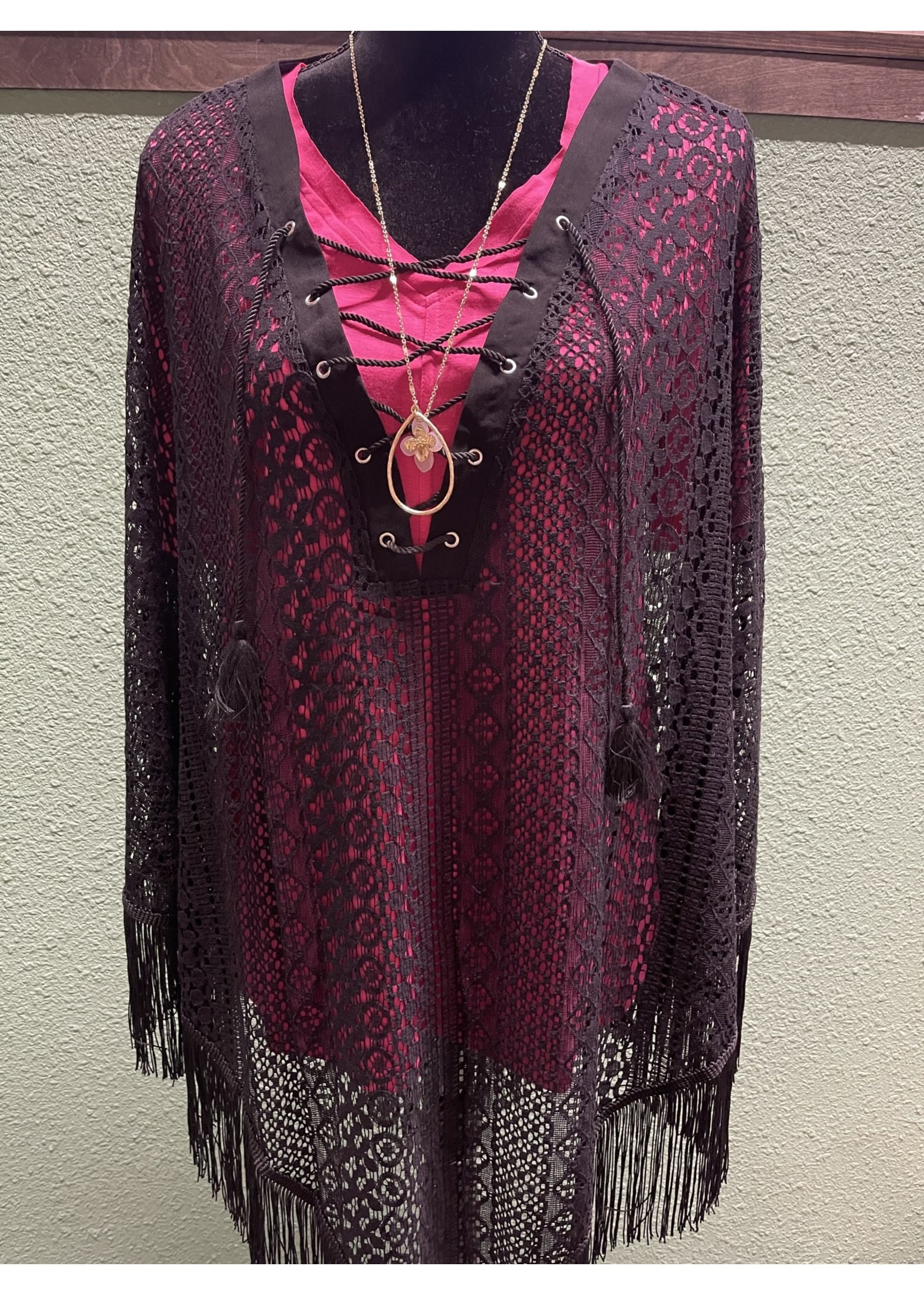 SIMPLY NOELLE WHISK ME AWAY LACE PONCHO XXL BLACK
