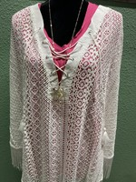 SIMPLY NOELLE WHISK ME AWAY LACE PONCHO XXL WHITE