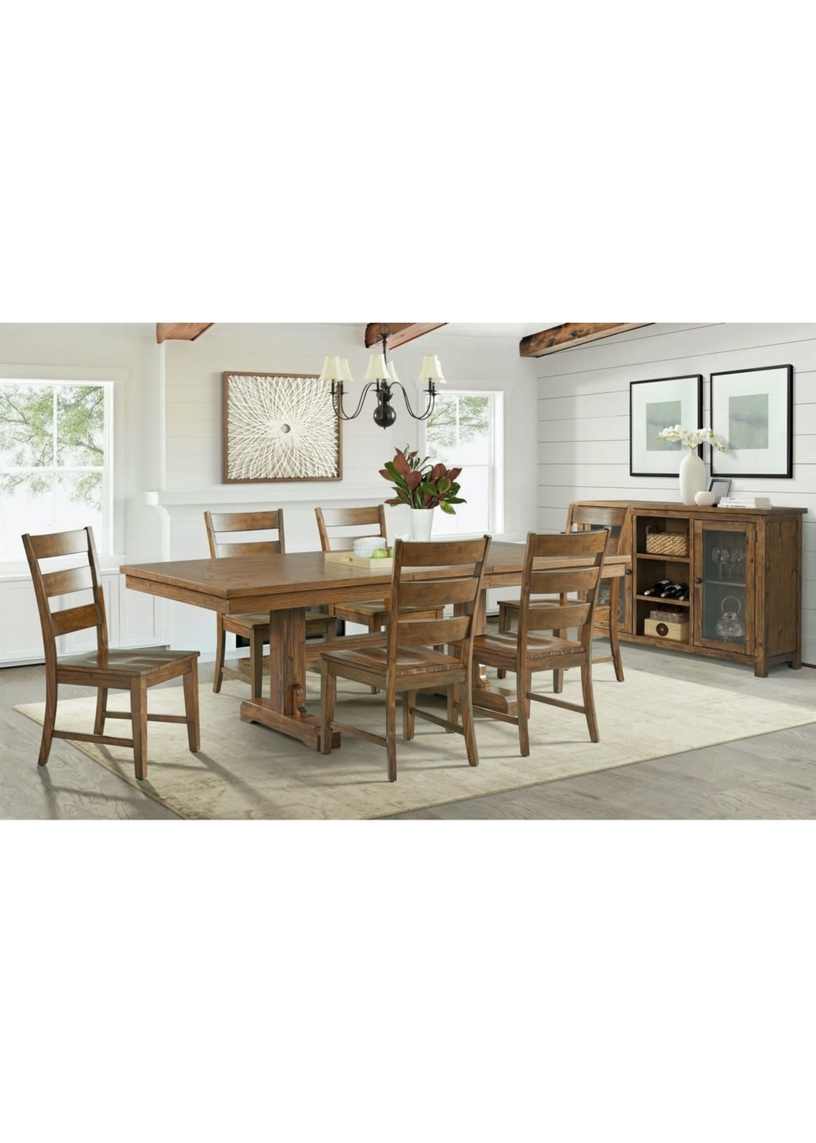 ELEMENTS SILAS DINING TABLE W/ EXTENSION DARK WOOD FINISH